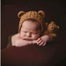 Crochet Newborn Photography Props Cute Knitted Hat Bear Toy Set Baby Photo Shoot