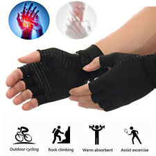 Copper Arthritis Gloves Fingerless Fit Compression Medical Support Therapeutic F