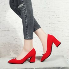 Square Shape High Heels Women Pointed Toe Shallow Mouth Shoes