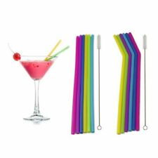 6PCS Straws Reusable Silicone Drinking Straw with Cleaning Brushes Set Special !