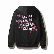 NIP Anti Social Social Club Cherry Blossum Black Hoodie NWT DS Hooded Sweatshirt