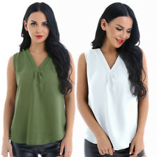 Women V Neck Casual Vest Tank Tops Loose Chiffon T Shirt Blouse Daily Crop Top