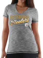 $40 NFL Pittsburgh Steelers Women's Team Graphic IV V-Neck Short Sleeve Shirt