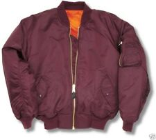 BURGUNDY MA1 PILOT FLYING BOMBER ARMY COMBAT JACKET-ALL