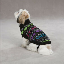 East Side Collection Warm Hearts/Peace Sign Dog Sweater