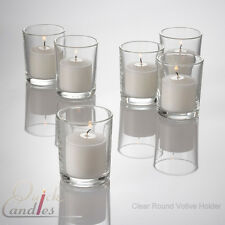 72 White Unscented Votive Candles & 72 Glass Holders