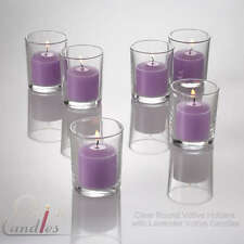 72 Lavender Votive Candles & 72 Clear Glass Holders