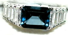 Men's London Blue & White Topaz Sterling Silver Ring