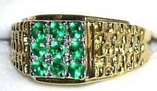 Men's Emerald Cluster Ring   May Birthstone