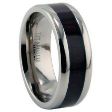 Titanium Ring with Wood Resin Inlay Comfort Fit