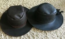 Black Brown Outback Distressed Spaghetti Western Leather Cowboy HAT S-M-L-XL-XXL