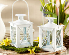 Lanterns White Silver Beach Wedding Center Piece Favors Candles Metal Bond Aspen