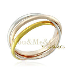 "AMAZING 18k Tri Color Gold EP "" Three Rings "" Ring"