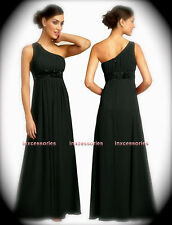 Long A-Line Black Chiffon One Shoulder Formal Evening Bridesmaid Dress Gown NEW