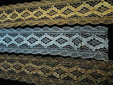 "VINTAGE METALLiC Lace 1 3/4"" Scallop Edge 1y Diamond"