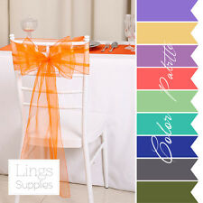 Wedding Party Banquet Chair Organza Sash Bow COLORS 1/5/10/25/200