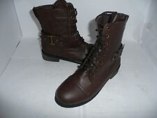 LADIES BROWN ZIP LACE UP BOOTS/SHOES NEW