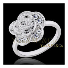 18k White Gold EP Brilliant Cut Crystal Rose Head Ring