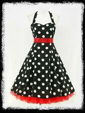 dress190 CHIFFON BLACK POLKA DOT 50's PINUP ROCKABILLY SWING PROM DRESS UK 8-26