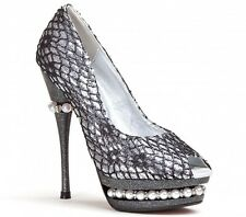 "Lady Couture Stiletto Heel 5 1/2"" Peep Toe Ladies Pumps Silver All Sizes"