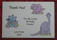5 PERSONALISED CHILDRENS BIRTHDAY PRESENT / GIFT THANK YOU CARDS +ENVS DINOSAURS