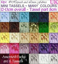 Pack 10 Plain 6 Mix MINI TASSELS Bookmark Craft Cardmaking BRIDAL TRIM key Small