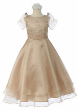 New Girl Champagne National Pageant Recital Formal Dress Size 4 6 8 10 12 14