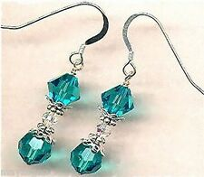 December Blue Zircon Birthstone Crystal Earrings Made With Swarovski Elements