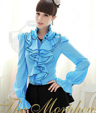 Blue Designer Trendy Lady Ruffle Sleeve Collar Hemline Shirt N247