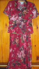 Ladies dress sleeveless with jacket lightweight red flowered yellow size 6 8