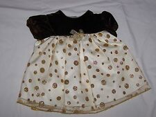 NWT Girls 3--6 or 6-9 Months BRYAN 2 Piece Polka Dot Brown & Gold Holiday Dress