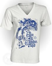 CHESHIRE CAT - Vintage Alice in Wonderland American Apparel 2456 V Neck T-Shirt