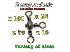 3 Three Way Swivels Rig Links sea fishing Size 1/0 2 4 6 or 8 1st Class Postage