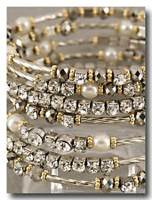 7 Layer COIL Wrap Bangle Bracelet!Crystal & Pearls that Bling, Sparkle & Shine!