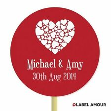 ❤ 20 PERSONALISED Cup Cake Toppers | Wedding Hearts | Cupcake Decoration ❤ 004