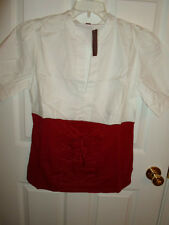 GITANO WOMENS WHITE RED COTTON BLOUSE SHIRT TOP COLOR BLOCK CORSET - DISCOLORED
