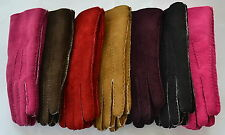 Ladies Suede Gloves. Sheepskin lined. Naturals and Brights.