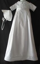 Boys Silk Shantung  Christening Gown/Romper Baptism Convertible Outfit  0-12M
