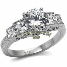 Brilliant/Princess 316L Stainless Steel Women's Wedding/Engagement Ring SZ 5-10