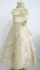 Girl Pageant Bridesmaid ball Evening Flower Formal Dress Taupe size 4 6 10 14