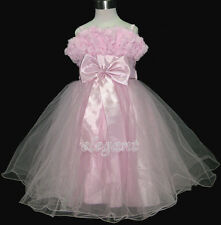 Pink Rosette Pageant Wedding Flower Girls Dress Prom Gown Size 3-12 Age 2-13Y