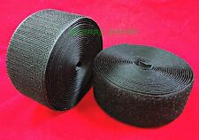 BLACK ( ANY yards / foot ) Sew on Velcro Roll ( Hook + Loop ) Fastening Tape NEW