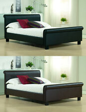 4FT6 DOUBLE 5FT KING SIZE ** REAL GENUINE LEATHER ** SLEIGH BED & MATTRESS DEAL