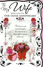 to / for my wife on our silver wedding anniversary traditional card 25th