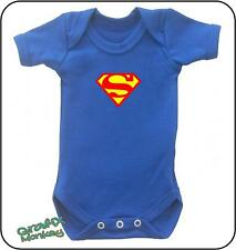 """SuperBaby"" Blue Baby vest.. Superman baby grow  ""super-hero collection"""