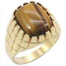 6.5 Ct Simulated Tiger's Eye Mens 18K Gold Plated Fashion Ring