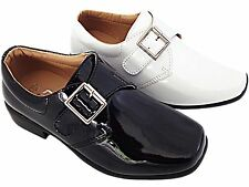 New Boys Childrens Page Boy Black White Wedding Christening Smart Dress Shoes