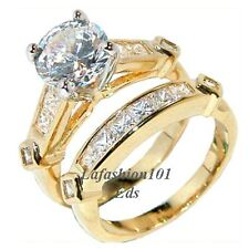 7x7mm Round Clear CZ Gold Plated Womens Wedding 2 RINGS SET SIZE 5,6,7,8,9,10