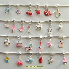 10 or 20 Random Silver Plated Dangle Bead Charms on Bails or Lobster Clasp Clips