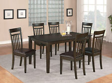 7 PC DINING ROOM DINETTE KITCHEN SET TABLE AND 6 CHAIRS WITH FAUX LEATHER SEAT